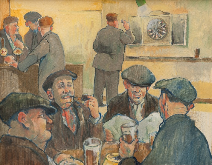 The Darts Players - Oil 400 x 500 mm